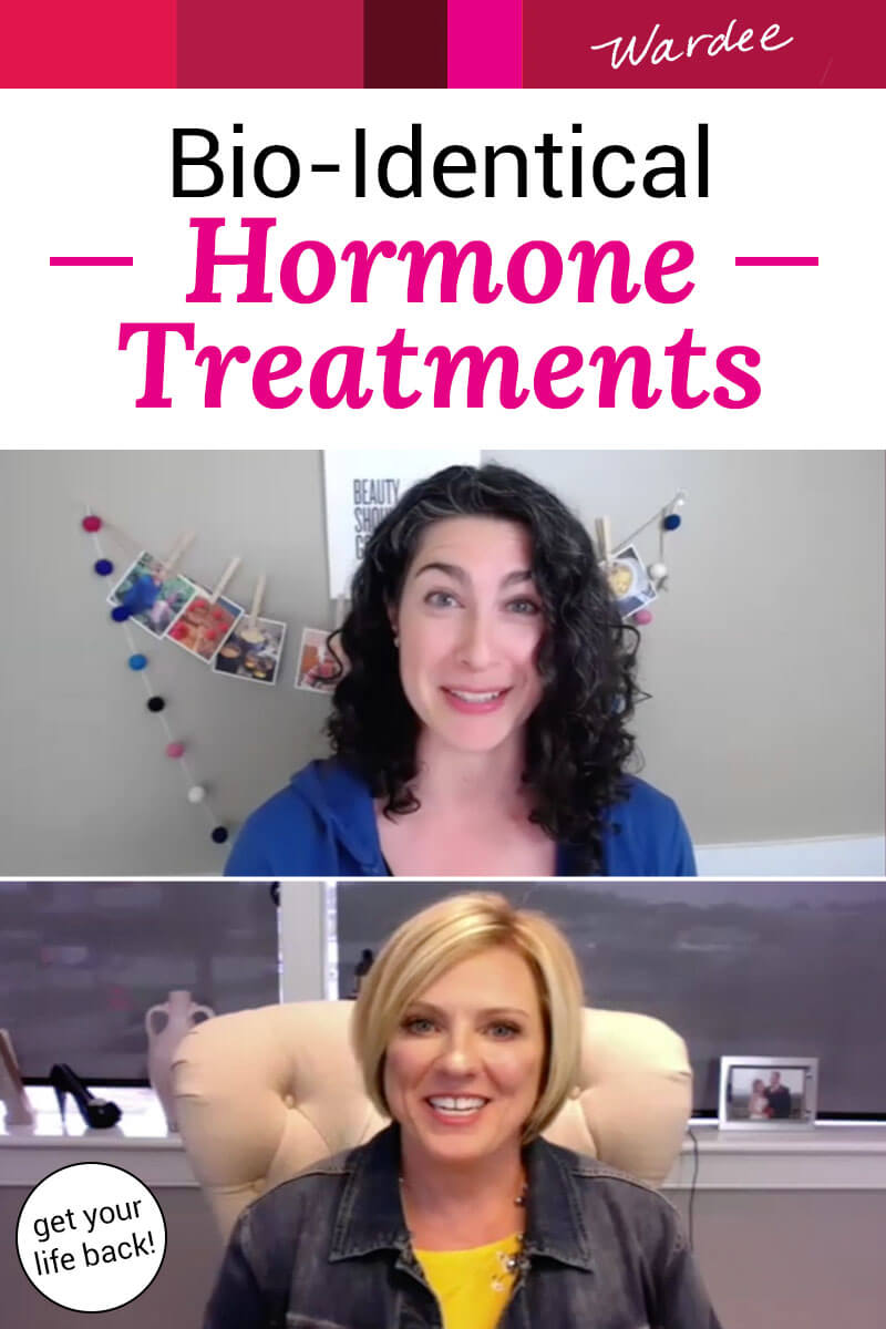 """photo collage of two women in their offices on an video interview with each other. Text overlay says: """"Bio-Identical Hormone Treatments (get your life back!)"""""""
