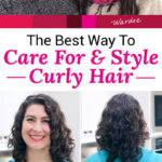 "photo collage of smiling women with glossy, full, and well-defined curls. Text overlay says: ""The Best Way To Care For & Style Curly Hair (which products & how to cut!)"""