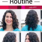 "photo collage of a smiling woman with glossy, full, and well-defined curls. Text overlay says: ""My Curly Hair Routine (best tips for amazing curls)!"""