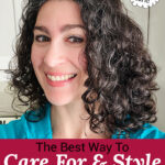 "smiling woman with glossy, full, and well-defined curls. Text overlay says: ""The Best Way To Care For & Style Curly Hair ...Safe & Non-Toxic (which products & how to cut it)!"""