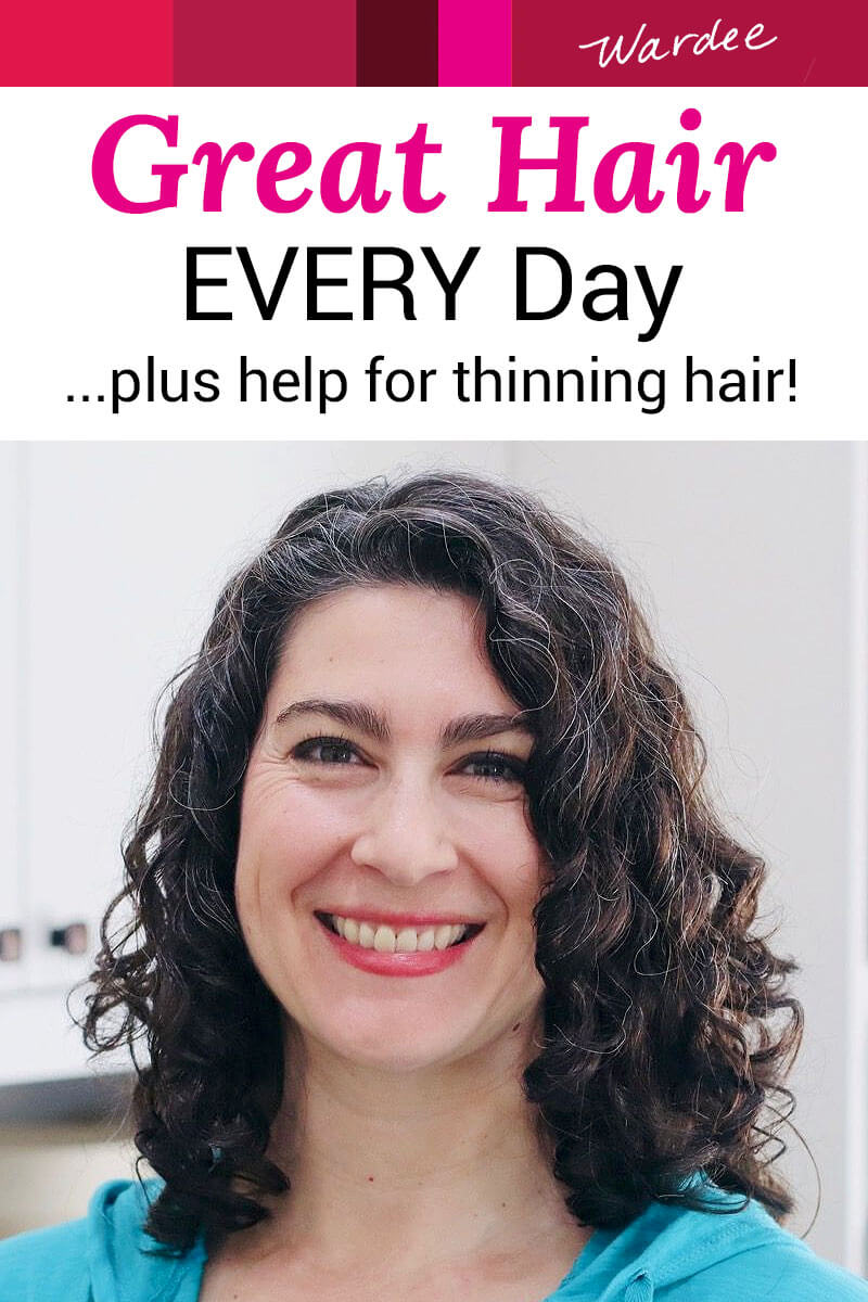 """smiling woman with curly hair; curls are glossy, smooth, and well-defined. Text overlay says: """"Great Hair EVERY Day ...plus help for thinning hair!"""""""