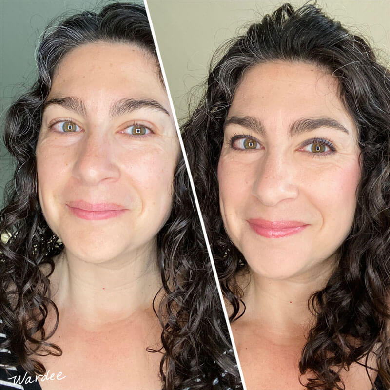 photo collage of a smiling woman before and after putting on makeup