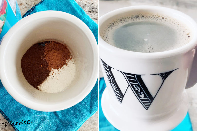 photo collage of a mug: photo at left shows a mostly empty mug with instant coffee alternative, cocoa powder, and collagen powder in the bottom; photo at right shows the same mug filled with warm water to make a hot chocolate-coffee beverage