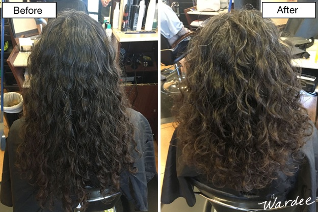 """Before and after shot of a """"deva cut"""" haircut."""