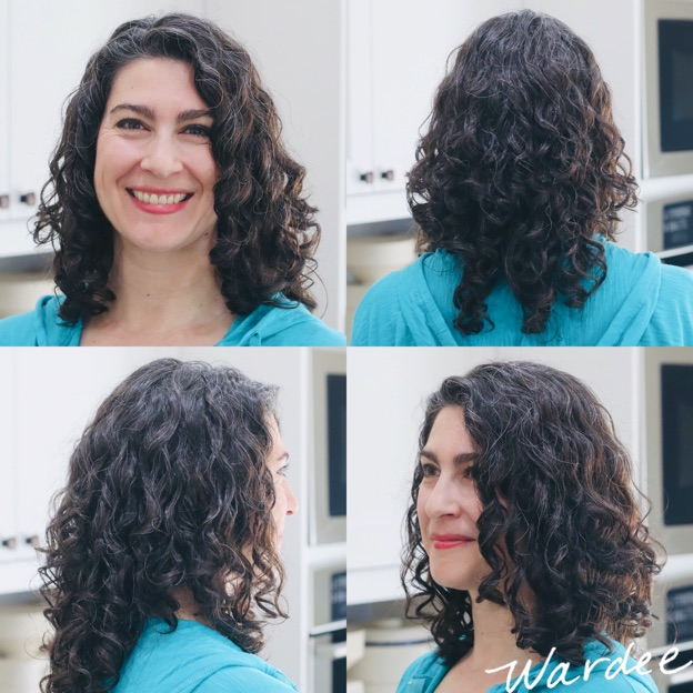 4 image collage of a woman with curly healthy hair.