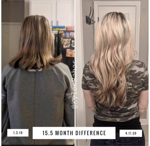 Before and after pictures of a woman with blonde hair 15.5 months apart. First image her hair is short and thin, second image her hair is long and healthy.