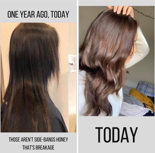 Before and after shot, one year apart, first image is of a woman with long brown hair that's broken in many places. Second image is of the same woman's long brown healthy hair with no breakage.