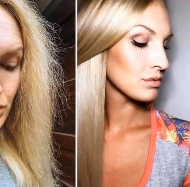 Before and after shot of a woman with blonde hair. First image her hair is frizzy with a lot of breakage, second image her hair is long, shiny and healthy with no breakage.