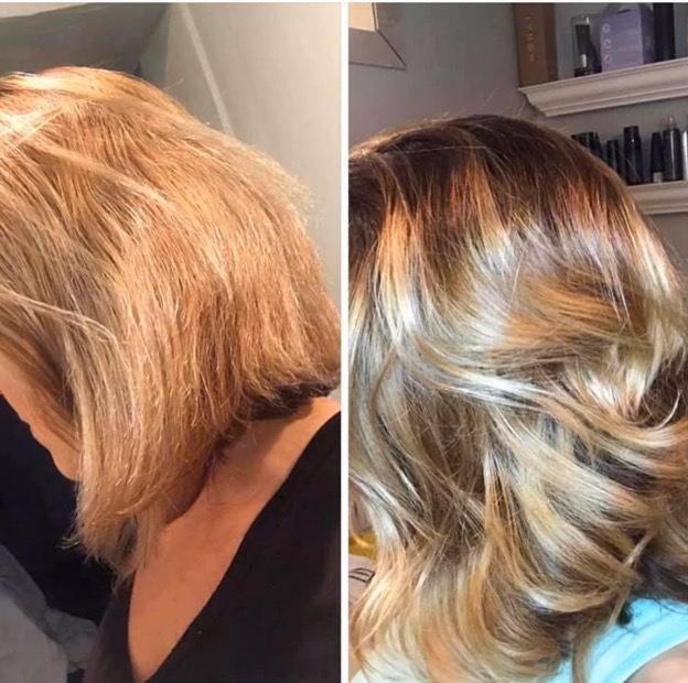 Before and after pictures of a woman's short blonde hair. First image shows dull hair with split ends, second image is of healthy hair.
