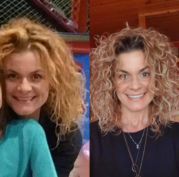 Before and after shot of a woman with shoulder length curly blonde hair. First image her curls are messy, second image her curls are smooth and perfect.