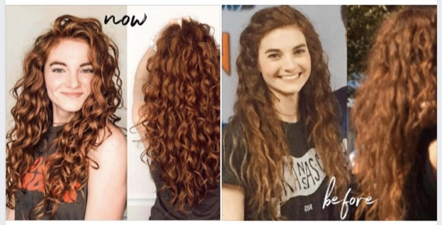Four images of a girl with long curly auburn hair. First two images her hair is frizzy and her curls aren't defined. Updated images are of her curls that are healthy, defined and no frizz.