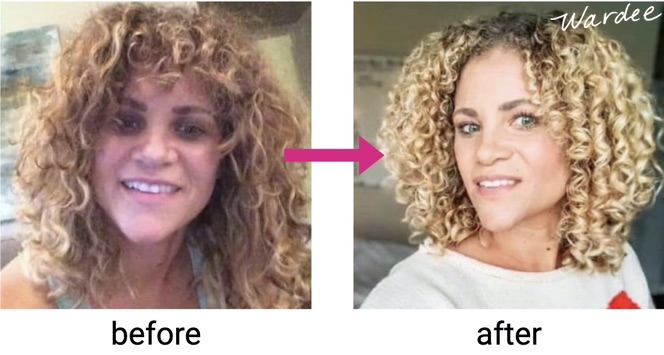 Two images of a young woman's before and after shot of her hair. First image her hair is frizzy with loose curls, the second image her curls are tight with no frizz.