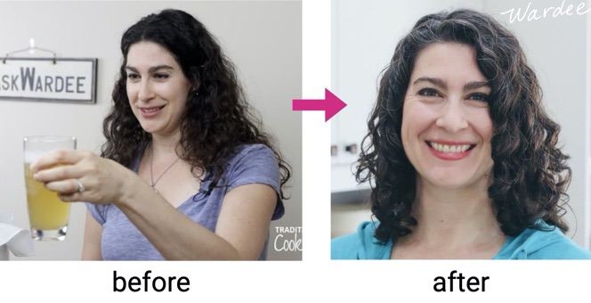 Two images of the same woman, first image is of her holding a glass of kombucha when she has long frizzy hair. Second image her hair is shorter and healthier without frizz.