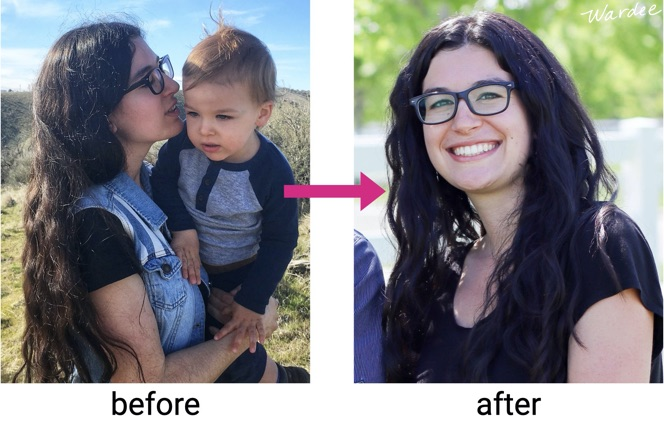 "Two images ""before and after"". The first of a young woman holding a toddler, her hair is long and a little frizzy. Second image is of the same young woman with smooth curly hair."