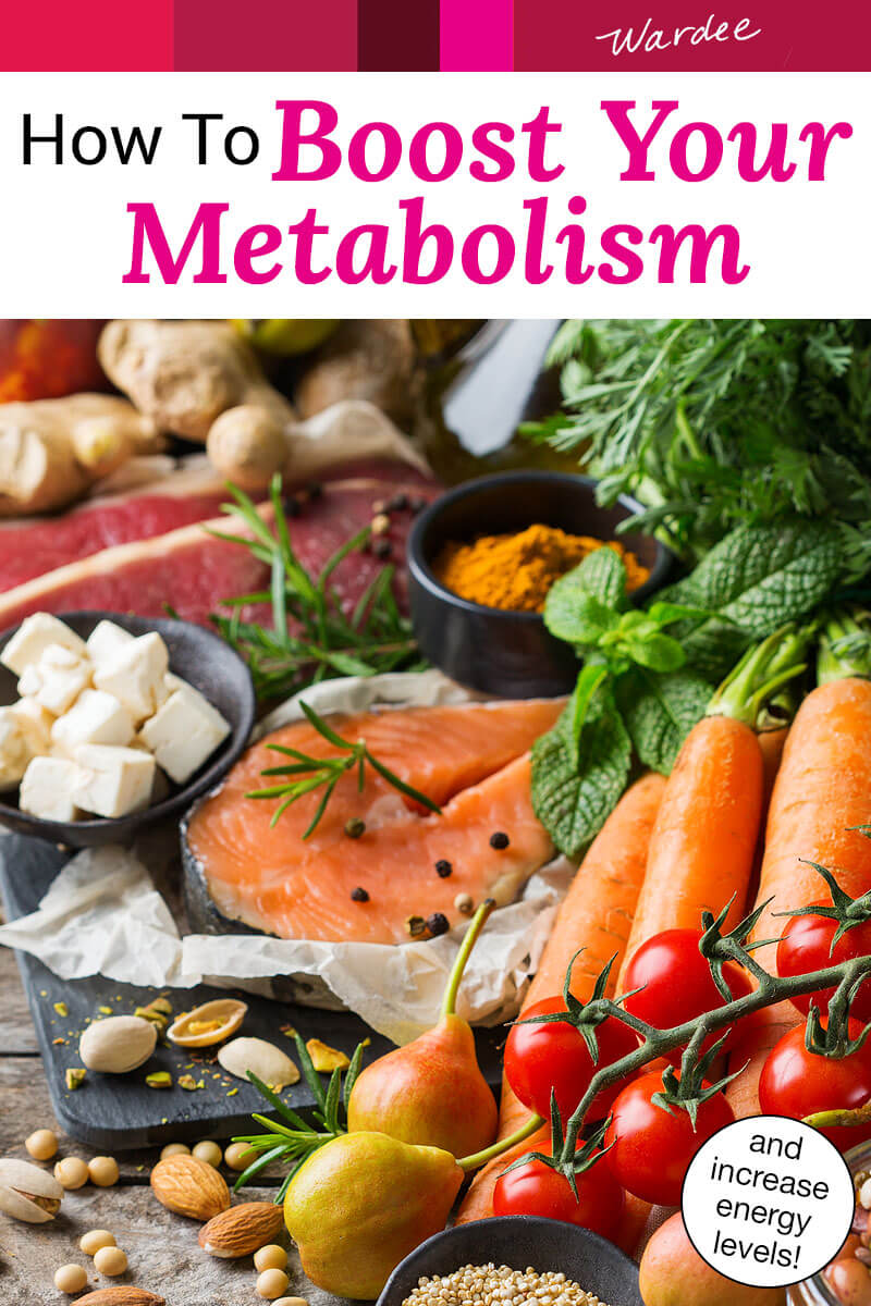 "An array of healthy, nutrient-dense foods including seafood, fruits, and vegetables. Text overlay says: ""How To Boost Your Metabolism (and increase energy levels!)"""