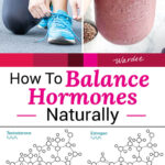 "photo collage of artistic rendering of three sex hormone molecules: testosterone, estrogen, and progesterone; a woman tying her shoes; and a woman's hand holding up a smoothie. Text overlay says: ""How To Balance Hormones Naturally (all about female hormones & why we need them!)"""